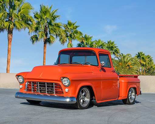 AUT 14 RK1919 01 © Kimball Stock 1955 Chevrolet Pickup Orange 3/4 Front View By Beach