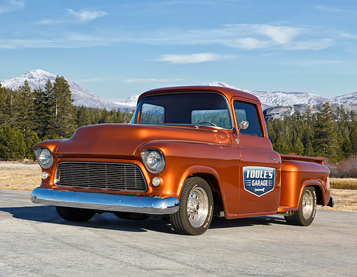 AUT 14 RK1920 01 © Kimball Stock 1956 Chevrolet Pickup Metallic Rust Orange 3/4 Front View By Forest And Mountains