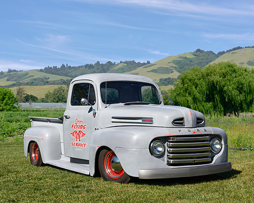 AUT 14 RK1927 01 © Kimball Stock 1948 Ford Pickup 3/4 Front View On Grass By Lake