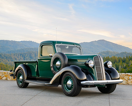 AUT 14 RK1932 01 © Kimball Stock 1936 Dodge Pickup Green And Black By Forest