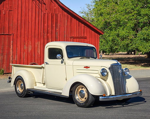 AUT 14 RK1943 01 © Kimball Stock 1937 Chevrolet 1/2 Ton Pickup 3/4 Front View By Barn And Orchard