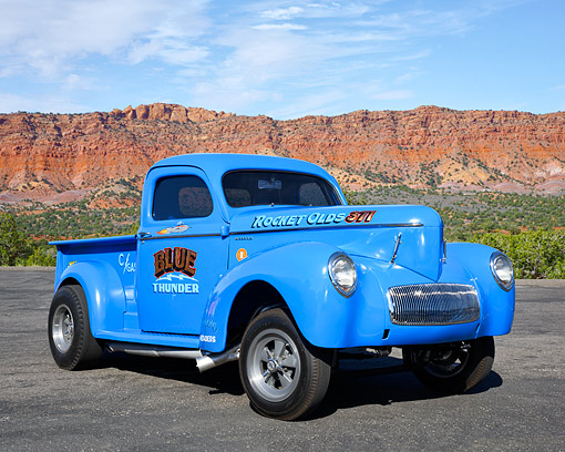 AUT 14 RK1945 01 © Kimball Stock 1941 Willy's Gasser Pickup Blue 3/4 Front View In Desert