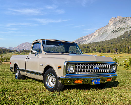 AUT 14 RK1949 01 © Kimball Stock 1972 Chevrolet C-10 Cheyenne 3/4 Front View On Grass By Mountain
