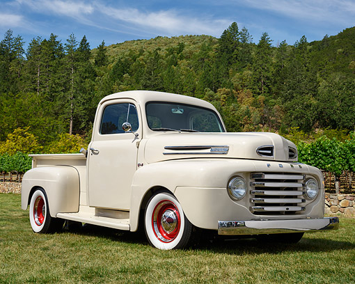 AUT 14 RK1955 01 © Kimball Stock 1950 Ford F-1 Pickup Vanilla 3/4 Front View On Grass By Trees