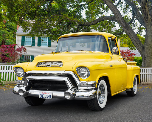 AUT 14 RK1957 01 © Kimball Stock 1955 GMC Blue Chip Series Pickup Truck Yellow 3/4 Front View By House