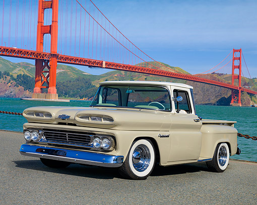 AUT 14 RK1975 01 © Kimball Stock 1960 Chevrolet C/K Apache 10 Stepside Beige 3/4 Front View By Golden Gate Bridge