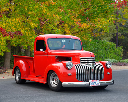 AUT 14 RK1978 01 © Kimball Stock 1941 Chevrolet C/K Pickup Custom Red 3/4 Front View By Trees