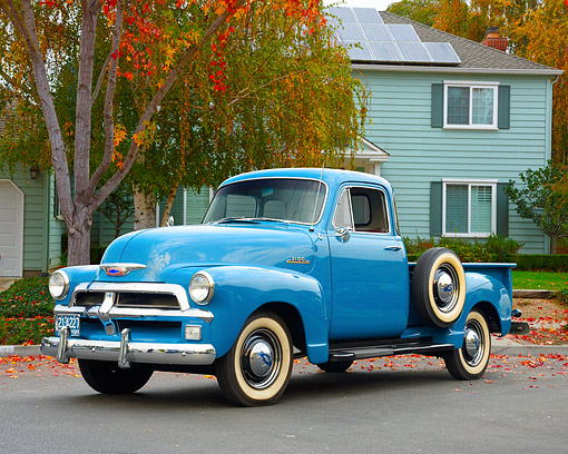 AUT 14 RK1982 01 © Kimball Stock 1954 Chevrolet Advance Design 3100 1/2 Ton Pickup Blue 3/4 Front View By House