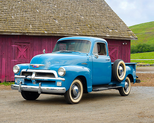 AUT 14 RK1983 01 © Kimball Stock 1954 Chevrolet Advance Design 3100 1/2 Ton Pickup Blue 3/4 Front View By House