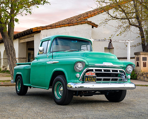 AUT 14 RK1986 01 © Kimball Stock 1957 Chevrolet Task Force Series Pickup 3100 Green 3/4 Front View By Building