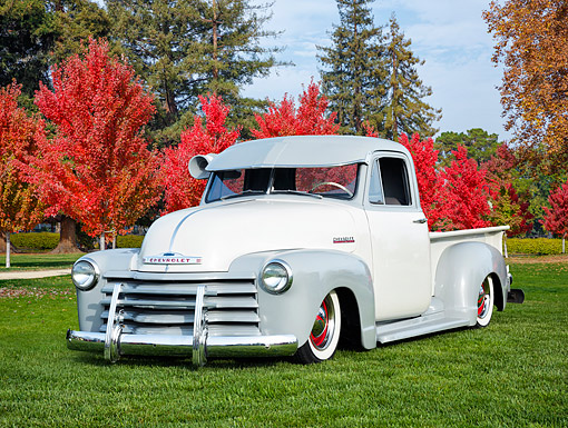 AUT 14 RK2001 01 © Kimball Stock 1948 Chevrolet Advance Design Thriftmaster Pickup Custom Gray And White 3/4 Front View By Autumn Trees