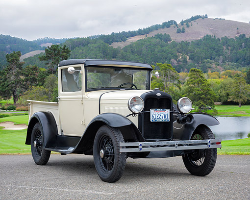AUT 14 RK2002 01 © Kimball Stock 1931 Ford Pickup Truck White 3/4 Front View By Lake