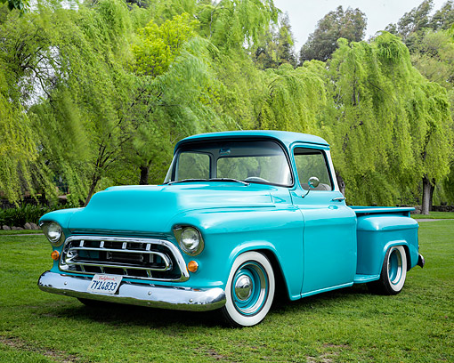 AUT 14 RK2003 01 © Kimball Stock 1957 Chevrolet 3100 Pickup Turquoise 3/4 Front View On Grass