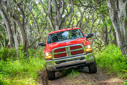 AUT 14 RK2008 01 © Kimball Stock 2016 Dodge Ram 2500 Power Wagon Hemi 6.4L Pickup Red Front View Driving In Trees