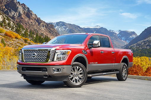 AUT 14 RK2009 01 © Kimball Stock 2016 Nissan Titan XD Pickup Red 3/4 Front View By Mountains