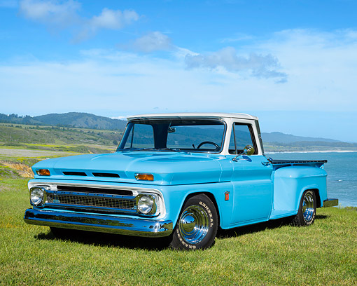 AUT 14 RK2012 01 © Kimball Stock 1964 Chevrolet C-10 Stepside Long Bed Pickup Blue 3/4 Front View By Ocean