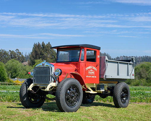 AUT 14 RK2016 01 © Kimball Stock 1930 Sterling Truck Red And Gray 3/4 Front View On Farm