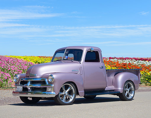 AUT 14 RK2020 01 © Kimball Stock 1948 Chevrolet Advance Design Loadmaster Pickup Purple Custom 3/4 Front View By Flowers