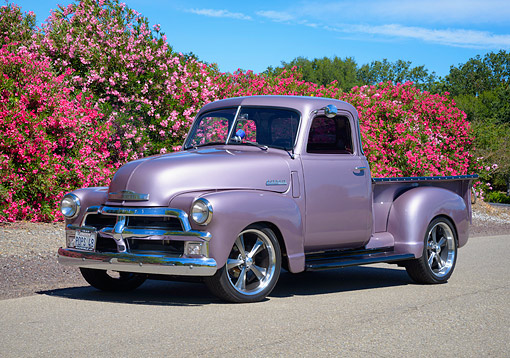 AUT 14 RK2021 01 © Kimball Stock 1948 Chevrolet Advance Design Loadmaster Pickup Purple Custom 3/4 Front View By Flowers