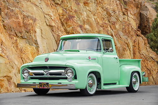AUT 14 RK2028 01 © Kimball Stock 1954 Ford F-100 Custom Cab Ford-O-Matic Green 3/4 Front View By Mountain