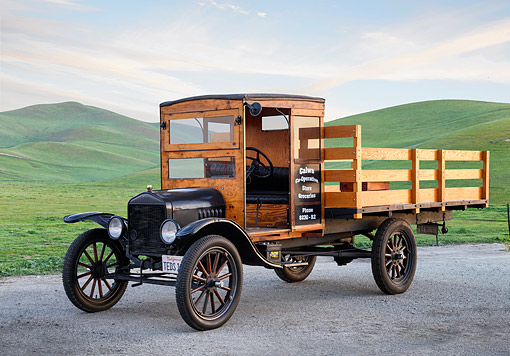 AUT 14 RK2034 01 © Kimball Stock 1919 Ford TT Truck Black 3/4 Front View By Green Hills At Sunset