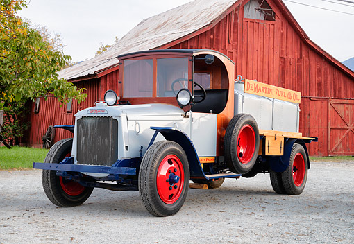 AUT 14 RK2035 01 © Kimball Stock 1925 De Martini Fuel Truck 3/4 Front View By Red Barn