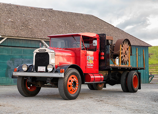 AUT 14 RK2037 01 © Kimball Stock 1929 Fagoel 360 Truck Red With Tractor 3/4 Front View By Barn
