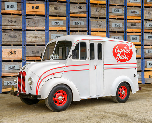 AUT 14 RK2038 01 © Kimball Stock 1940 Divco Model U Crystal Dairy Milk Delivery Truck 3/4 Front View By Crates