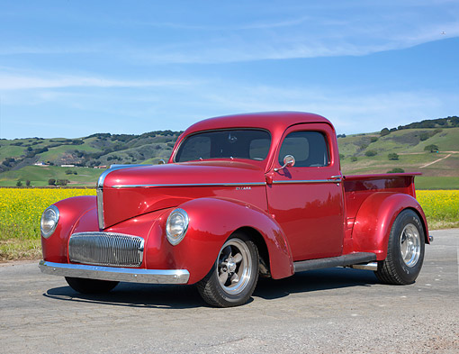 AUT 14 RK2043 01 © Kimball Stock 1942 Willys Americar Pickup Red 3/4 Front View By Pastrol Landscape