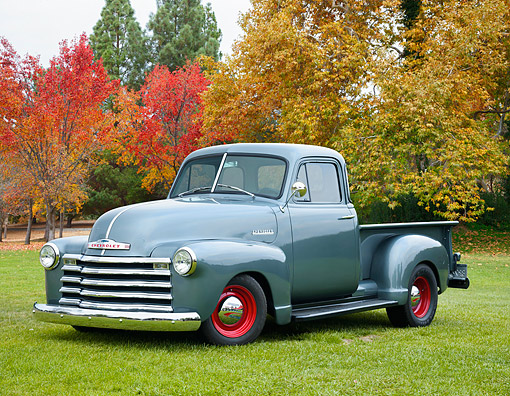 AUT 14 RK2045 01 © Kimball Stock 1951 Chevrolet Advance Design Pickup Silver Blue 3/4 Front View On Field By Autumn Trees