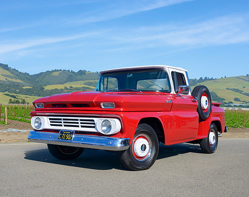 AUT 14 RK2046 01 © Kimball Stock 1962 Chevrolet C10 Stepside Pickup Red And White 3/4 Front View By Wide Green Farmland