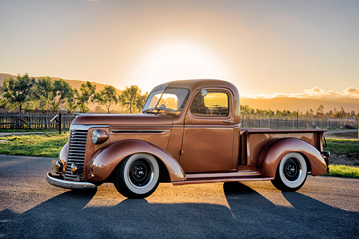 AUT 14 RK2050 01 © Kimball Stock 1940 Chevrolet Pickup Copper 3/4 Front View By Trees