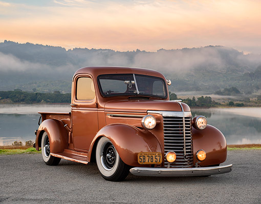 AUT 14 RK2051 01 © Kimball Stock 1940 Chevrolet Pickup Copper 3/4 Front View By Foggy Lagoon