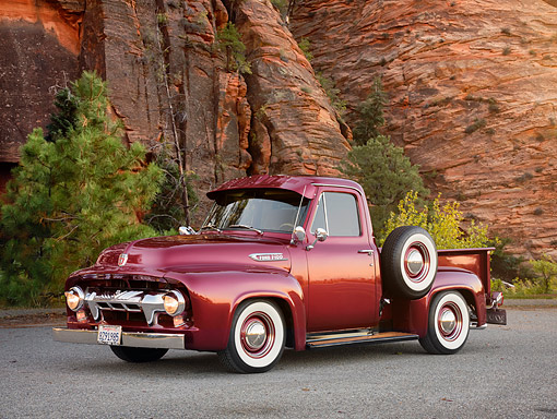 AUT 14 RK2052 01 © Kimball Stock 1954 Ford F-100 Maroon 3/4 Front View By Cliff