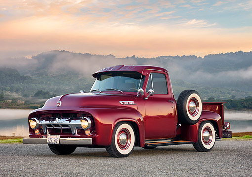 AUT 14 RK2053 01 © Kimball Stock 1954 Ford F-100 Maroon 3/4 Front View By Water