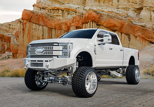 AUT 14 RK2054 01 © Kimball Stock 2017 Ford F-250 Pickup White 3/4 Front View By Desert Wall