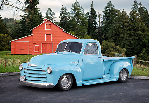 AUT 14 RK2055 01 © Kimball Stock 1951 Chevrolet Advance-Design 3100 Pickup Blue 3/4 Front By Barn And Trees