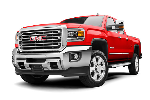 AUT 14 RK2058 01 © Kimball Stock 2017 GMC Sierra 2500HD Red Low 3/4 Front View In Studio