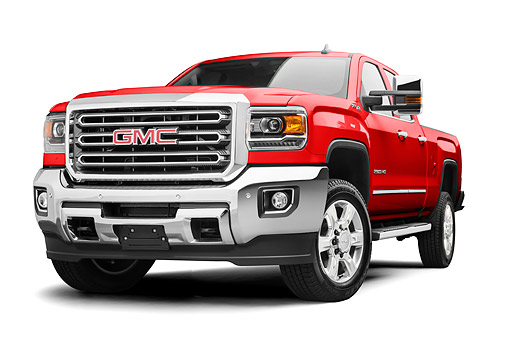 AUT 14 RK2059 01 © Kimball Stock 2017 GMC Sierra 2500HD Red Low 3/4 Front View In Studio