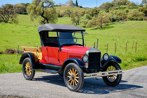 AUT 14 RK2061 01 © Kimball Stock 1926 Ford Model T Pickup Red 3/4 Front View By Grassy Hills
