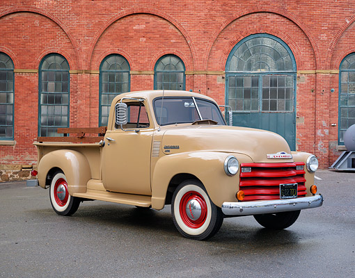 AUT 14 RK2066 01 © Kimball Stock 1951 Chevrolet Advance Design 3100 Pickup 3/4 Front View By Brick Building