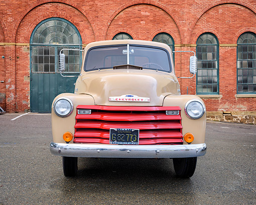 AUT 14 RK2067 01 © Kimball Stock 1951 Chevrolet Advance Design 3100 Pickup Front View By Brick Building