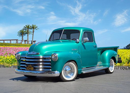 AUT 14 RK2072 01 © Kimball Stock 1949 Chevrolet Advance Design 3100 Pickup Turquoise 3/4 Front View By Flowers