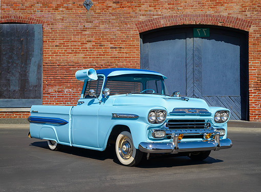 AUT 14 RK2077 01 © Kimball Stock 1959 Chevrolet Task Force Apache 31 Fleetside Pickup Turquoise 3/4 Front View By Bricks On Pavement