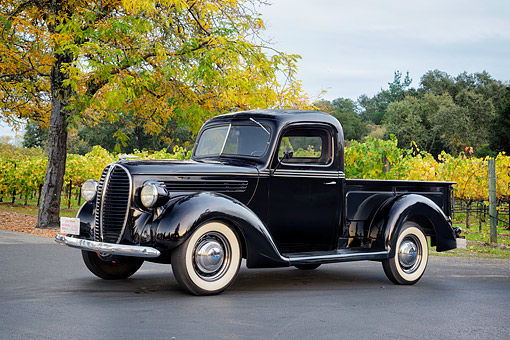 AUT 14 RK2078 01 © Kimball Stock 1938 Ford Pickup Truck Black 3/4 Front View By Vineyard And Trees