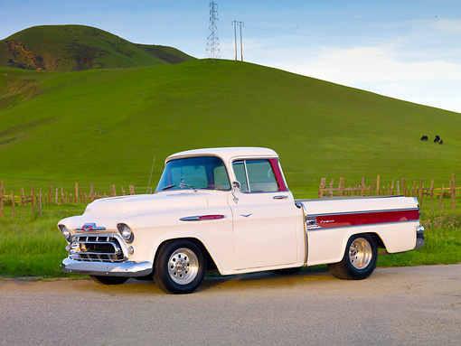 AUT 14 BK0018 01 © Kimball Stock 1957 Chevrolet Cameo Pickup Truck White 3/4 Front View On Pavement By Hills
