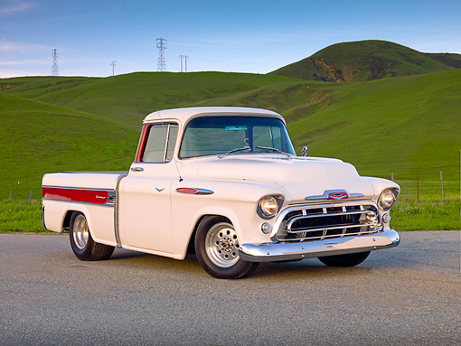 AUT 14 BK0021 01 © Kimball Stock 1957 Chevrolet Cameo Pickup Truck White 3/4 Front View On Pavement By Hills