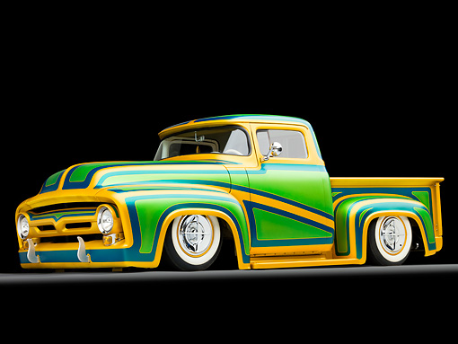 AUT 14 BK0022 01 © Kimball Stock 1956 Ford F-100 Pickup Truck Custom Green And Gold 3/4 Front View Studio