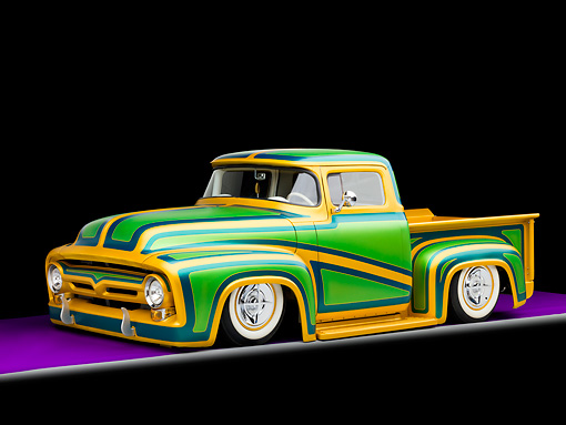 AUT 14 BK0023 01 © Kimball Stock 1956 Ford F-100 Pickup Truck Custom Green And Gold 3/4 Front View Studio