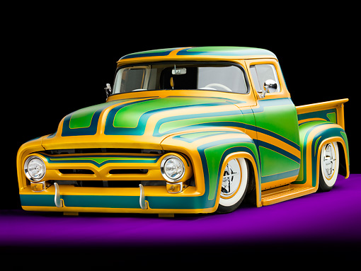 AUT 14 BK0024 01 © Kimball Stock 1956 Ford F-100 Pickup Truck Custom Green And Gold 3/4 Front View Studio